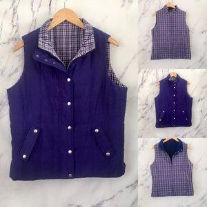 3/$60 Jones New York Plaid Reversible puffer vest